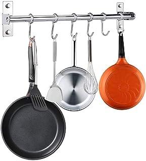 Crochets coulissants de cuisine en acier inoxydable avec 6 crochets amovibles en S pour casserole, cuillère, barbecue, ser...