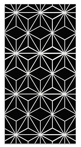 Panorama Alfombra Vinílica Líneas Estrellas Negro 60x110 cm - Alfombra Cocina Vinilo - Alfombra Salón Antideslizante, Antihongos e Ignífuga - Alfombras Grandes - Alfombras PVC
