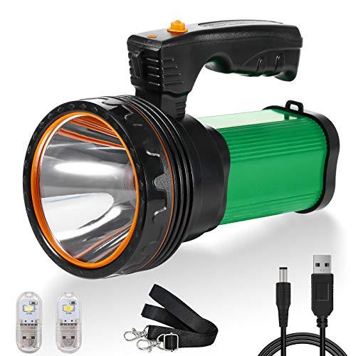 Linterna LED de mano recargable, superbrillante, 6000 lúmenes, 2 modos, resistente al agua, para exteriores, aventuras, senderismo, emergencias, con batería (verde)