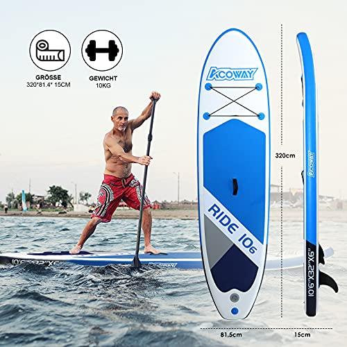 ACOWAY Aufblasbares SUP Board blau, 320 x 81.5 x 15 cm - 3