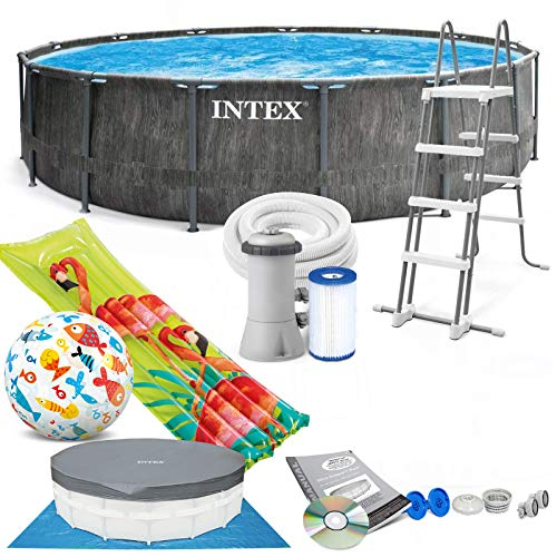 Intex Greywood Prism Frame 457x122 cm Schwimmbecken 26742 Komplett-Set mit Pumpe, Unterlegeplane, Abdeckplane und Leiter sowie Extra-Zubehör wie: Luftmatratze und Strandball