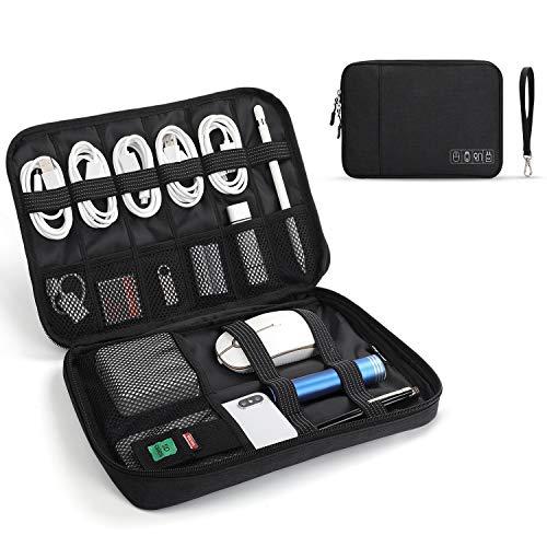 Jelly Comb Elektronik Tasche - Wasserdichte Elektronische Tasche & Organisierte Aufbewahrungstasche für iPad Mini, Handy Kabel, Ladegerät, Adapter, Powerbank, USB-Sticks, SD Karten (Schwarz)