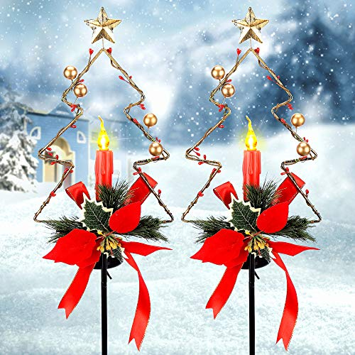 SOLLED Solar Christmas Candle Garden Stakes Outdoor, Waterproof Solar Powered Xmas Candle Pathway Lamp Garden Stake Landscape Lights Decorations for Garden, Lawn, Yard, Path -2 Pack