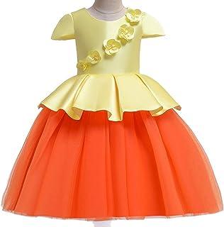Vestido De Flores Para Niñas, Vestido Para Niños Malla De Satén Costura De Gasa Vestido De Novia De Color Princesa, Para F...
