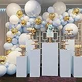 LYEJFF Balloon Arch Kit Guirnalda, Blue White Gold Balloons Pack Arch For Girls Boys Cumpleaños Baby Shower Bachelorette Party Decoraciones de la Boda