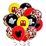 Mickey Mouse Confetti Party Balloons 40Pack, 12Inch Red Black Yellow Mickey Minnie Theme Round Latex Balloons for Baby Shower Kids Boy Girl Birthday Party Decorations Supplies with Ribbon