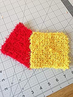 Crochet Dish Scrubbies in Red and Yellow, Crochet Dishcloths Made with Scrubby Yarn, 5 by 5 Inches