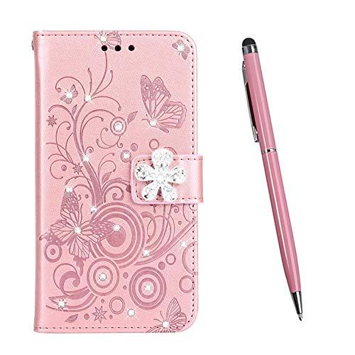 TOUCASA Cover per Nokia 5.1, Flip Custodia [Serie Diamante] PU Pelle Portafoglio Unico Sottile Funzione TPU Antiurto Flip Cover a Libro Custodie Protettivo (Rosa)