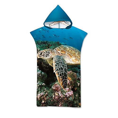 Sticker Superb. Oceano Animal Tortuga Azul Blanco Grande Cambiando Túnica Poncho De Toalla con Capucha, Mar Nadando Traje de Neopreno Cambiando para Navegar Playa (Azul 2, 75x110cm)