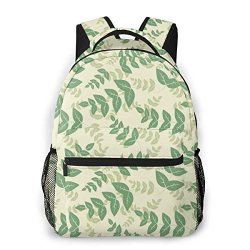 Lawenp School Backpacks Pattern with Green Leaves for Teen Girls&Boys 16 Inch Backpack Student Bookbags Laptop Casual Rucksack Travel Backpack