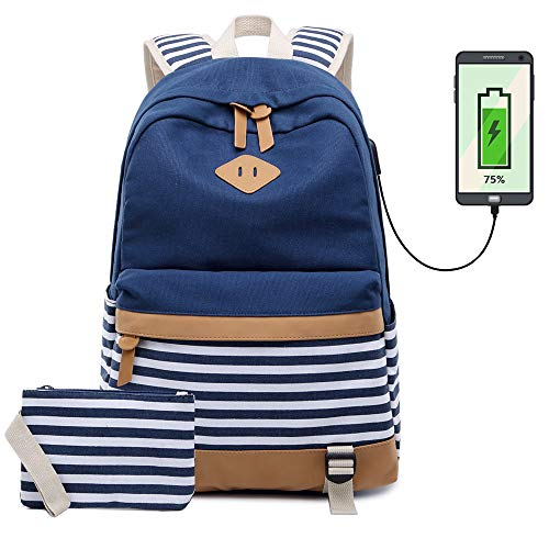 Tela Zaino Scuola Ragazza Donna Zainetto Vintage Canvas Backpack Casual Daypacks per 15.6in Laptop, USB Charging Port(Blu)