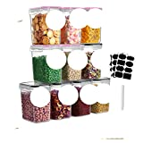 Juego de 4/8/10 piezas, caja de almacenamiento de alimentos, cocina, contenedor organizador de tapa al vacío, latas selladas transparentes, contenedor transparente de plástico, paquete 3