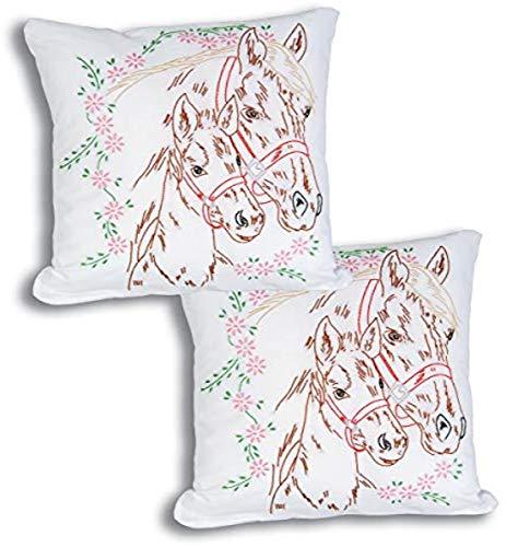 Jack Dempsey Mélange de Coton Blanc estampillé Pillowtops 38,1 cm X 15-inch-Mare et Colt