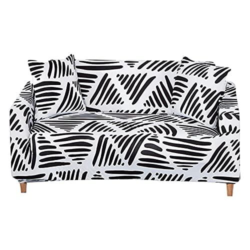 WXQY Bedruckter elastischer Sofabezug, Ecksofabezug für Wohnzimmer, Möbelbezug L-förmiger Sesselbezug A4 4 Sitzer