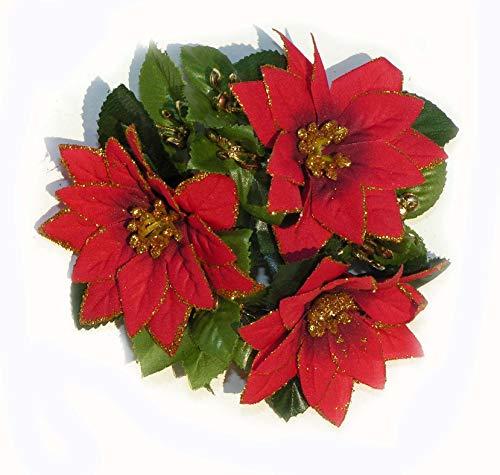 Topdekoshop Edel Blumen Weihnachtssterne als Kerzenring Kranz 14 cm tolle Tischdeko Weihnachtsdeko 5683