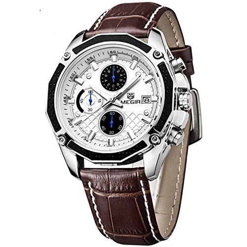 Megir Army Sport Brown Leather Wrist Watch for Men ML2015GBN-7