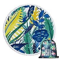 SILVIA  緑の葉の夏のビートビーチタオルマイクロファイバー巾着バックパックバッグバスタオルマットビキニ覆い隠す かさ (Color : Towel and Bag 2)