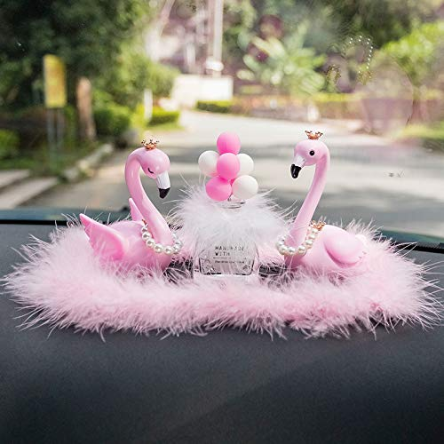 RAP Creatieve auto decoratie high-end schattige decoratie in het centrum console auto mooie decoratie vrouwelijke 2 flamingo's + roze witte ballonnen + roze harige pad