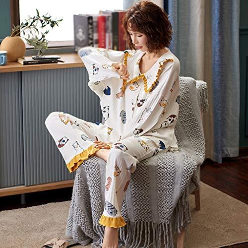 WALNUT Estampado de Flores Lindo Pijamas Set Ropa de Dormir de algodón de Cuello de Giro para Mujeres Invierno Espeso Ocio Ocio Desgaste (Color : A, Size : Large)