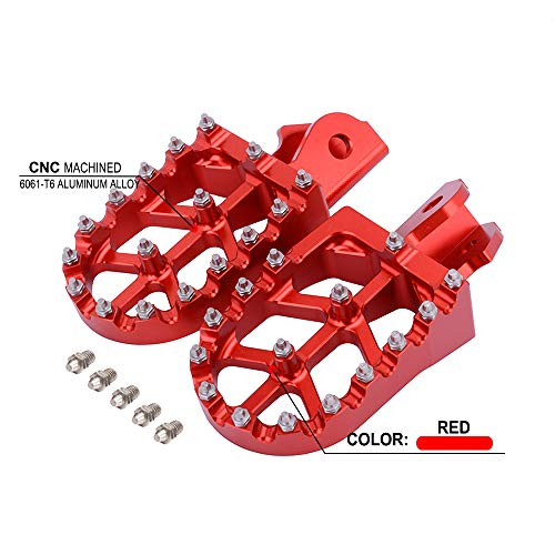 YSMOTO Śledzie nożne podnóżki pedały podnóżek CNC aluminiowe podnóżki do Hondy CRF150F CRF 150F 03-09 2003-2009 CRF230F CRF 230F 12-17 2012-2017 Dirt Bike motocykl czerwony