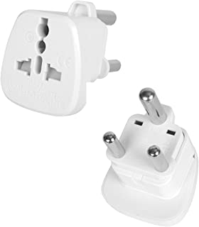 INIBUD Pack of 2 AU Australia NZ to South Africa Swaziland Lesotho Mozambique Namibia Botswana Travel Adapter White Plug
