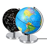 Illuminated Constellation Globe World Globe with Stand 3 in 1 Nightlight and Globe