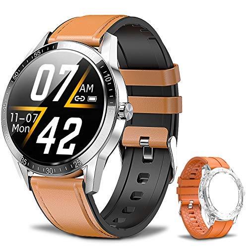 Smartwatch Fitness Tracker Orologio IP68 Orologio Intelligente Impermeabile, Telefono Bluetooth,Cardiofrequenzimetro, Monitor del Sonno, Contapassi da Polso, Sport Smartwatch per Android IOS(Argento)