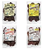 HARDTIMES Real Beef Jerky, Variety Sampler Pack, No MSG, 2.25 Ounce (4 Pack) Original, Hot, Peppered, and Teriyaki