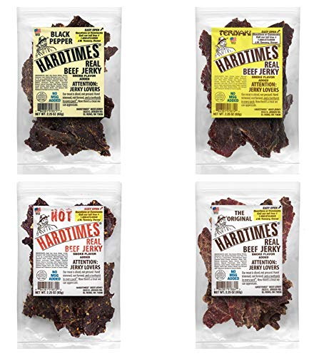 Hard Times Real Beef Jerky, Variety Sampler Pack, No MSG, 2.25 Ounce (4 Pack) Original, Hot, Peppered, and Teriyaki