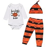 Crazybee 3-Piece Pumpkin Halloween Costume Bodysuit Outfit Set Baby Boy Girl Romper