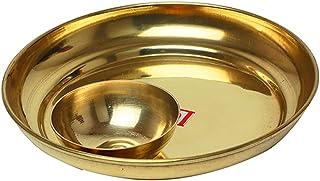 "Decorative Brass Plate, Decorative Indian Prasad Plate with Katori Patra for Pooja Pooja Utensils Item Articles ( Size 5"" ..."