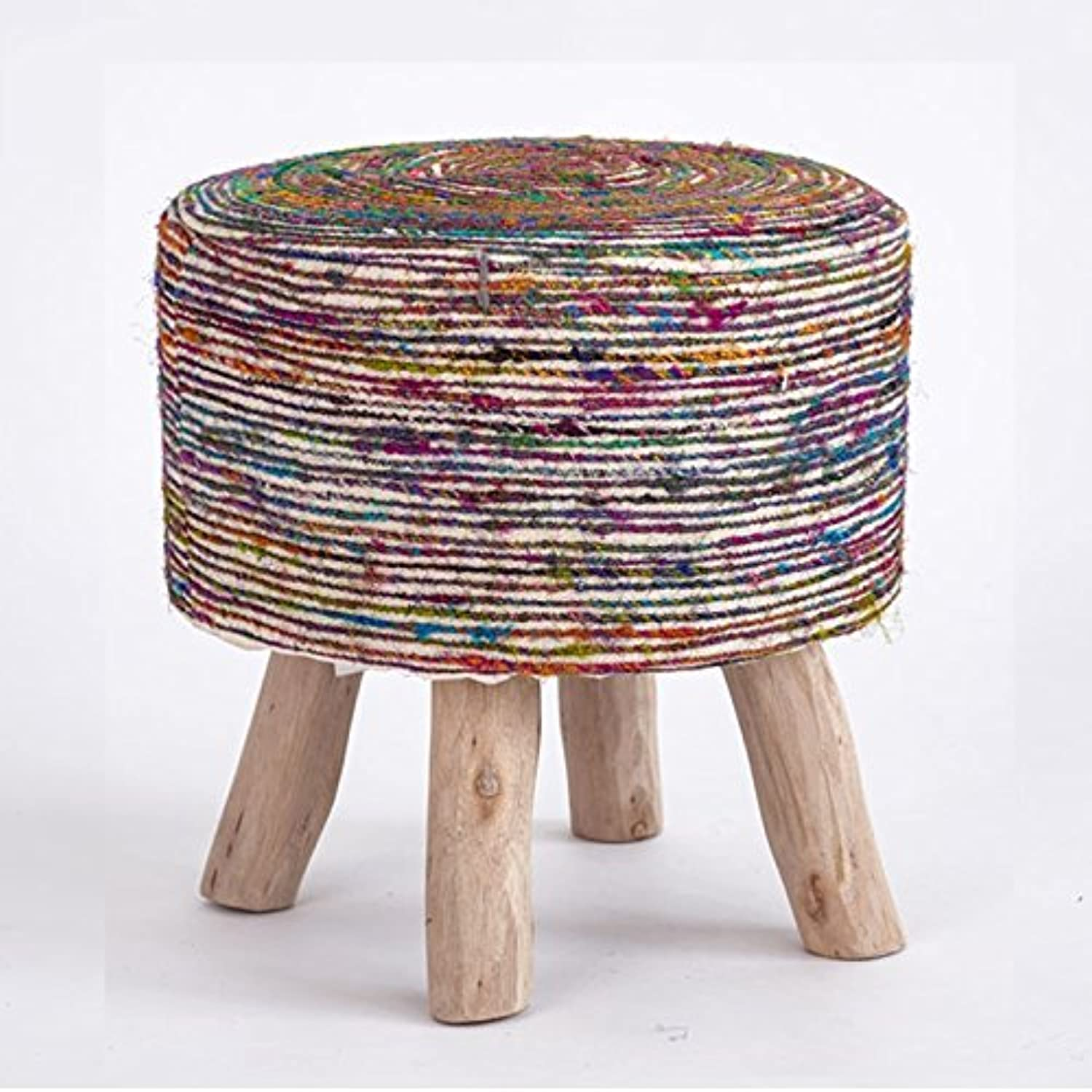 Home Stool, Changing shoes Dressing Round Stool Solid Wood Frame 40 × 40 cm (color    2)