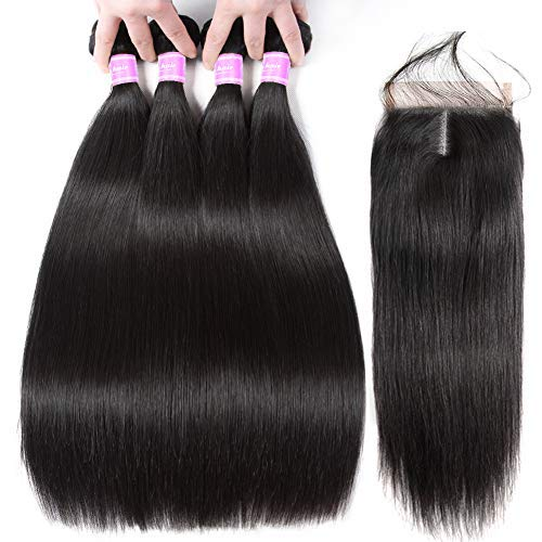 Flady 9A Straight Bundles with Closure Brazilian Remy Human Hair 4 Bundles with Closure(22 24 26 28+20) Weft Hair Extensions Human Hair Sew In