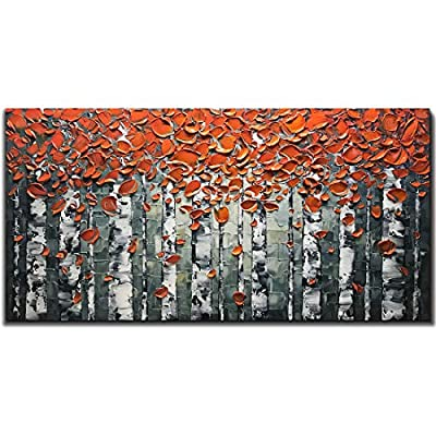 V-inspire Art, 24x48 Inch Oil Paintings Lucky Tree Abstract Hand-Painted Art Lnner Wooden Frame Canvas Painting Flower Wall Art Living Room Bedroom Office Hanging Decorations from V-inspire
