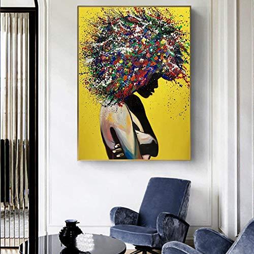 Arte de la pared de la muchacha negra africana abstracta pinturas en lienzo Graffiti carteles artísticosimpresiones imágenes artísticas de la calle decoración del hogar marco de 70X100cm