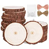 Natural Wood Slices 20Pcs 2.8'-3.1' Unfinished Wood Kit with Screw Eye Rings, Complete Wood Coaster, Wooden Circles for Crafts Wood Christmas Ornaments Wedding DIY Crafts