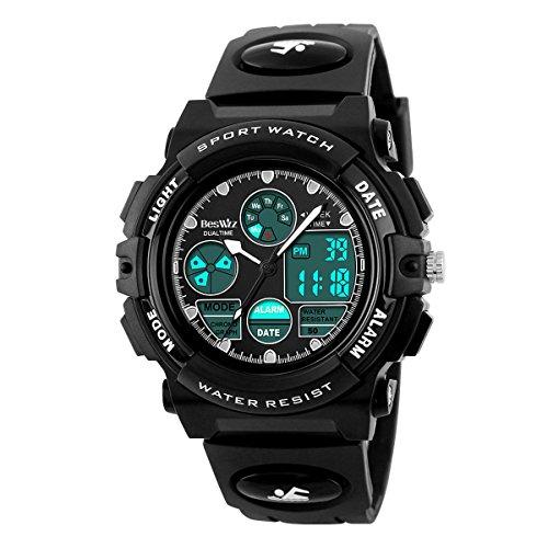 BesWLZ Kinder und Jugendliche Uhr Digital Quarz mit Plastik Armband Wasserdicht Alarm Stoppuhr Schwarz