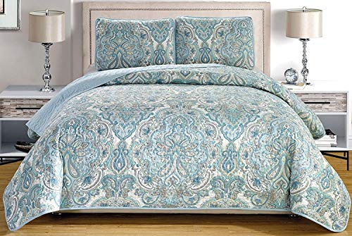 "3-Piece Fine printed Oversize (100"" X 95"") Quilt Set Reversible Bedspread Coverlet QUEEN SIZE Bed Cover (Pale Blue, Grey, Paisley)"