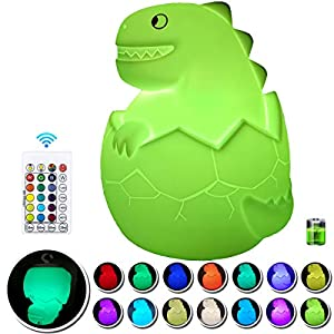 Dinosaur Night Light for Kids: BIRUI Baby Night Light Gifts, Silicone Dimmable Baby Cute Lamp for Nursery Boys Girls Children with Touch Sensor
