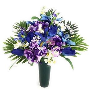 Cemetery Memorial Graveside Gravesite Flowers purple blue cream