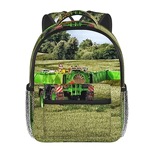 RTUBNSD Kinderrucksack Rasentraktor Feld, Kindergarten Vorschul Tasche Schultasche für Kleinkinder Mädchen Jungen