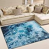 oanzryybz alta qualità mare tema blue sea onda non di slittamento coperta di zona for il salone da pranzo camera da letto cucina, ocean beach nursery tappeto pavimento moquette yoga mat