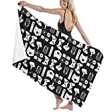 Luxury Bath Towels Wash Cloths for Home, Hotel, Spa, Beach Travel - Video Game Weapon Funny Gamer Black Towels, Soft & Absorbent Shower Bath Towel Oversized Bathroom Towel