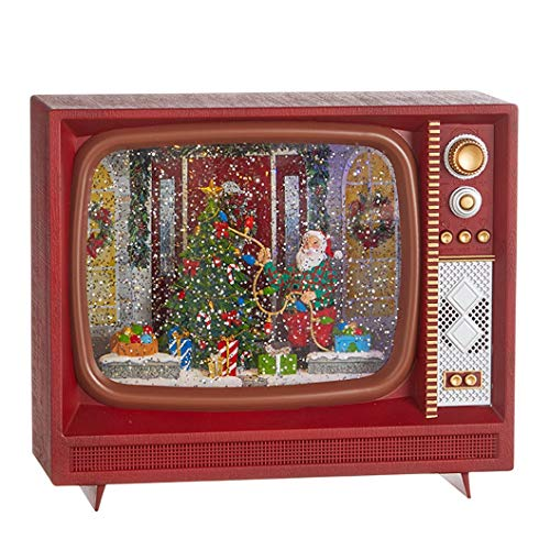 Raz 4000776 Santa Decorating Tree Musical Lighted Water TV, 10 Inches, Multicolor