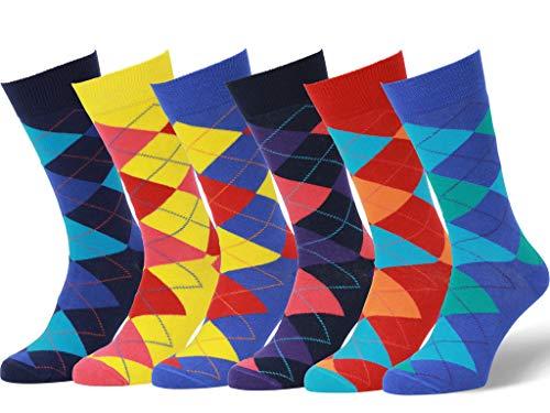 Easton Marlowe 6 Paar Bunt Gemusterte Herren Socken - 6pk 9, argyle - helle Farben, 43-46 EU Schuhgröße