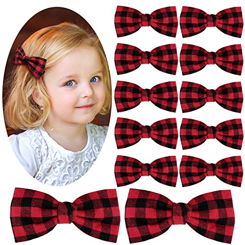 12 Pieces Christmas Hair Bows Plaid Clip Hair Bow Plaid Bow Buffalo Plaid Hair Accessory Buffalo Plaid Checkered Ribbon Hair Bows Clips Hair Accessories for Women Girls (Black and Red)