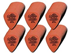 The pick used by top musicians worldwide Made of the ever-popular Tortex material for a long life and bright tone Maximum memory, minimum wear Gauges (mm): .50, .60, .73, .88, 1.0, 1.14 Made in the USA