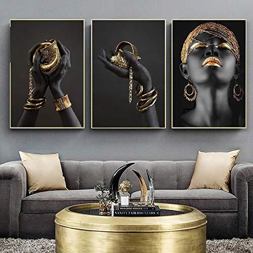 VVSUN Mujer Africana contempladora Negro y Dorado Pintura en Lienzo a Mano Carteles e Impresiones Cuadro de Arte de Pared para decoración de Sala de Estar 50X70cm 20x28inchx3 Sin Marco