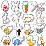 Pasqua Formine Biscotti, Gyvazla 16 Pezzi Biscuit Cutter - Coniglietto, Uovo, Carota, Fiore, Farfalla, Unicorno, Giraffa Decorazioni per feste