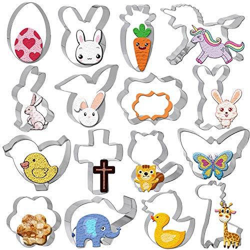 Cortador de Galletas Pascua, Gyvazla 16 Piezas Acero Inoxidable Cookie Cutters Molde, Huevo, Zanahoria, Conejo, flor, unicornio, jirafa Pascua Decoracion
